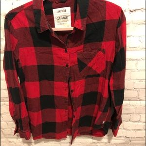 Garage flannel  plaid button down size Small